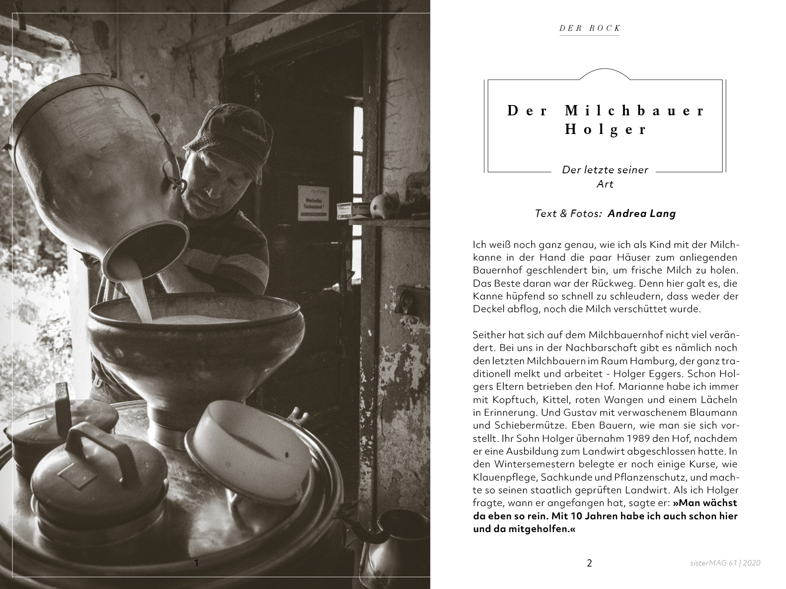 Der Milchbauer Holger, sisterMAG Artikel