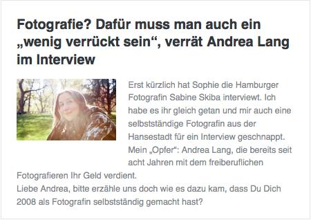Interview der Fotografin Andrea Lang mit FF&