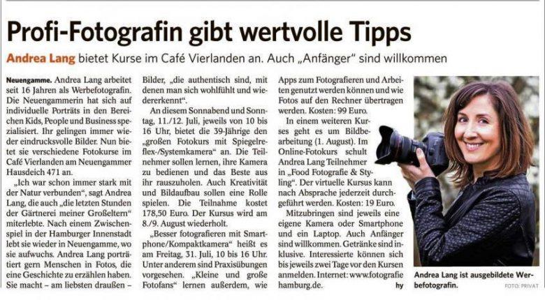 Zeitungsartikel über Fotokurse