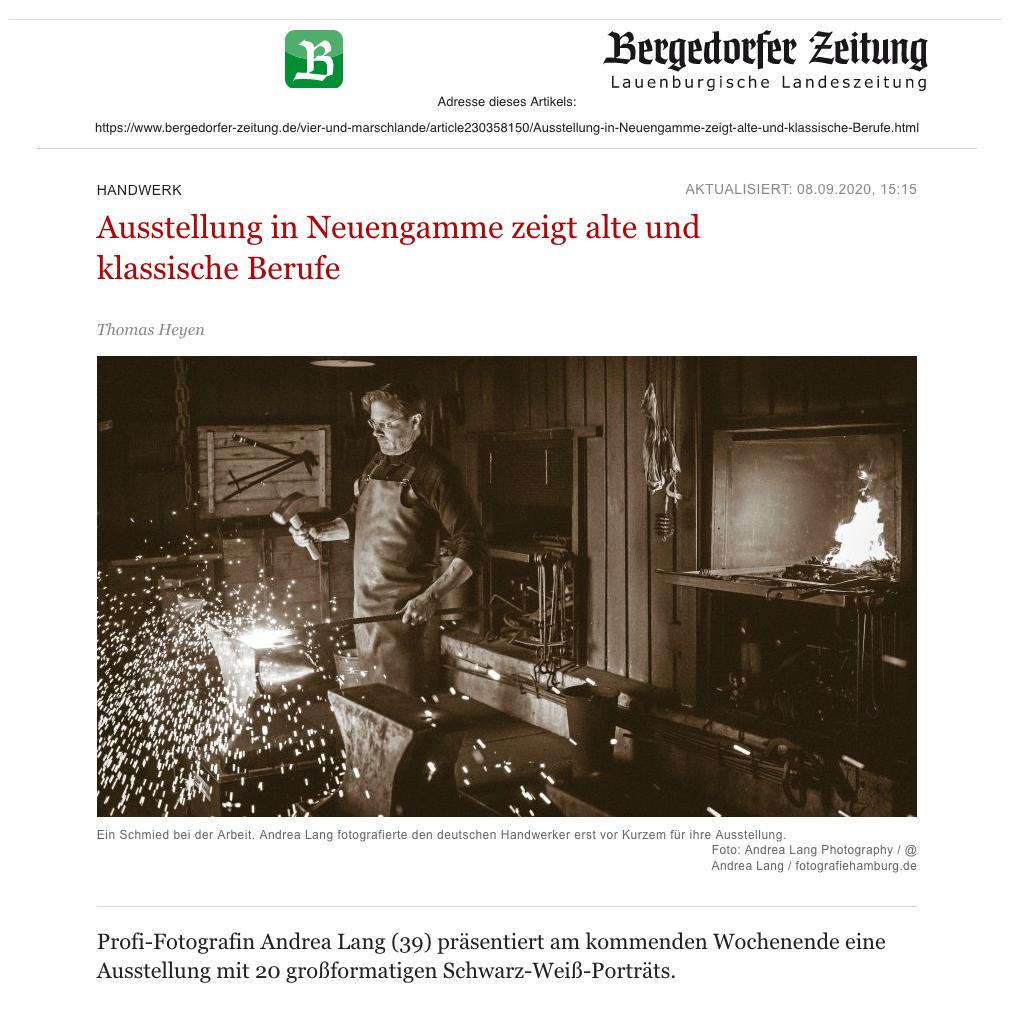 Bergedorfer Zeitung Artikel über Fotoausstellung Altes Handwerk & Traditionsberufe