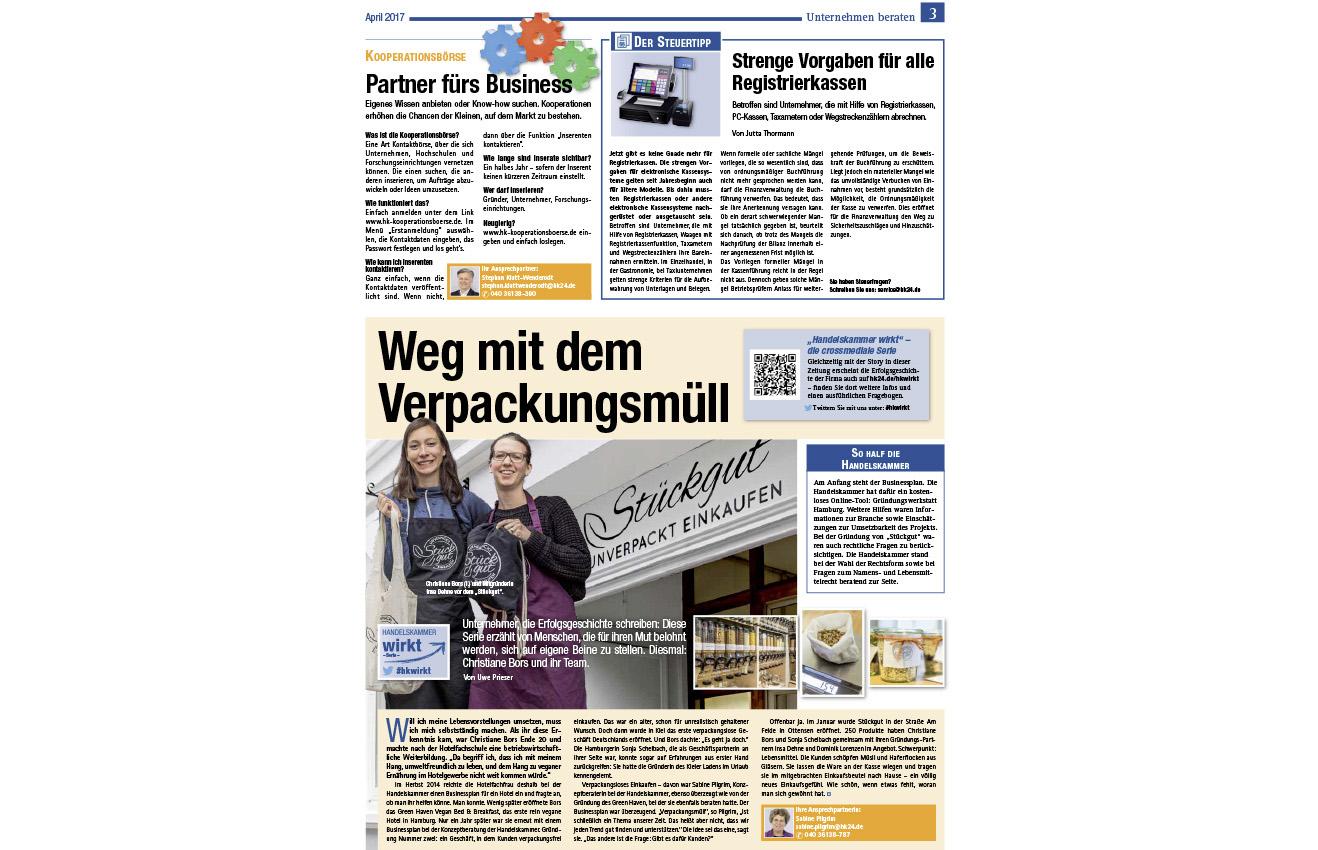 Handelskammer Magazin Hamburger Wirtschaft über Stückgut, nachhaltig